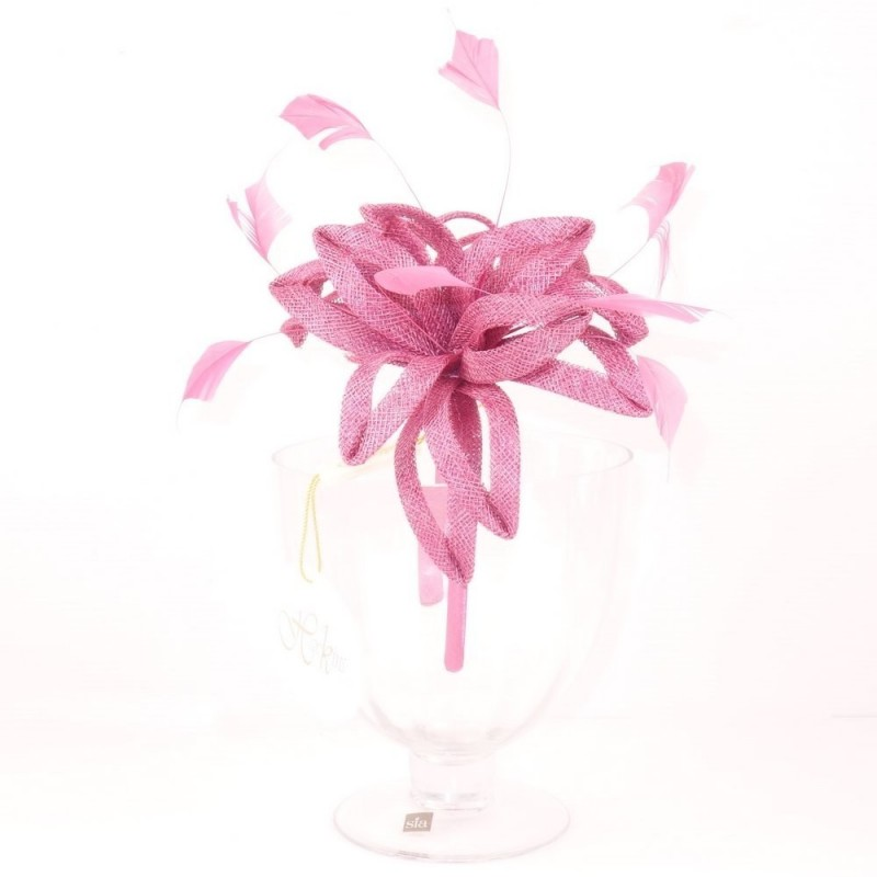 Chapeau mariage Headband bibi lys rose