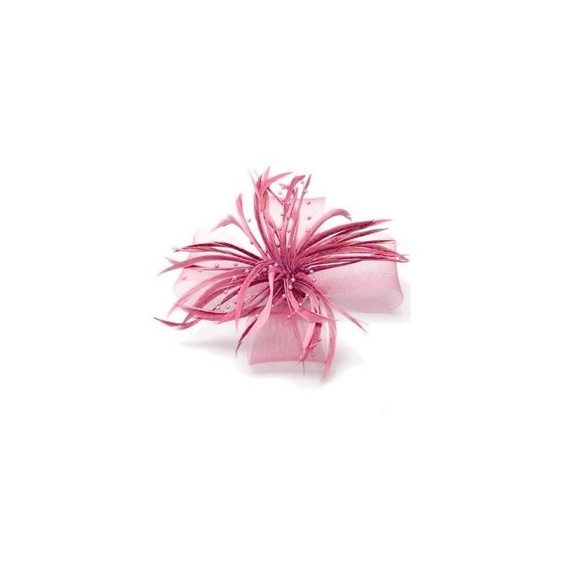 Chapeau mariage Accessoire cheveux plumes perles rose