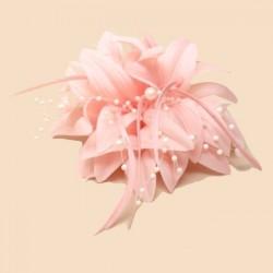 Chapeau mariage Accessoire cheveux fleur rose corail et perles