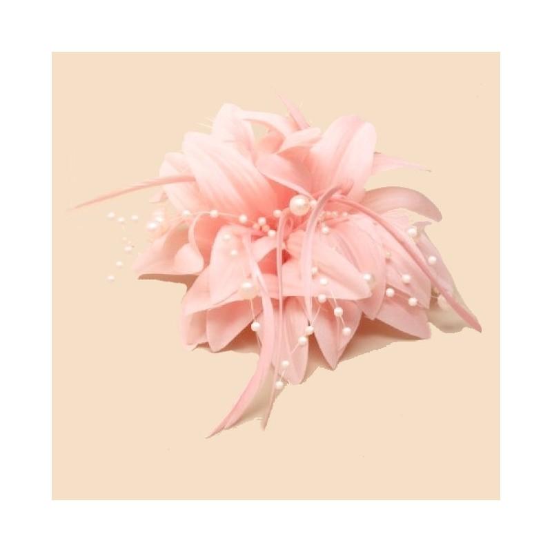 accessoire cheveux fleur rose corail et perles. Black Bedroom Furniture Sets. Home Design Ideas