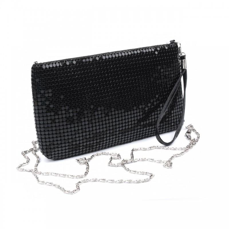 Mini sac pochette soiree noir brillant