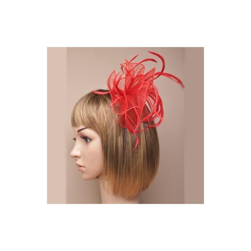 Chapeau mariage bibi fascinateur coiffure en voile et plumes rouges