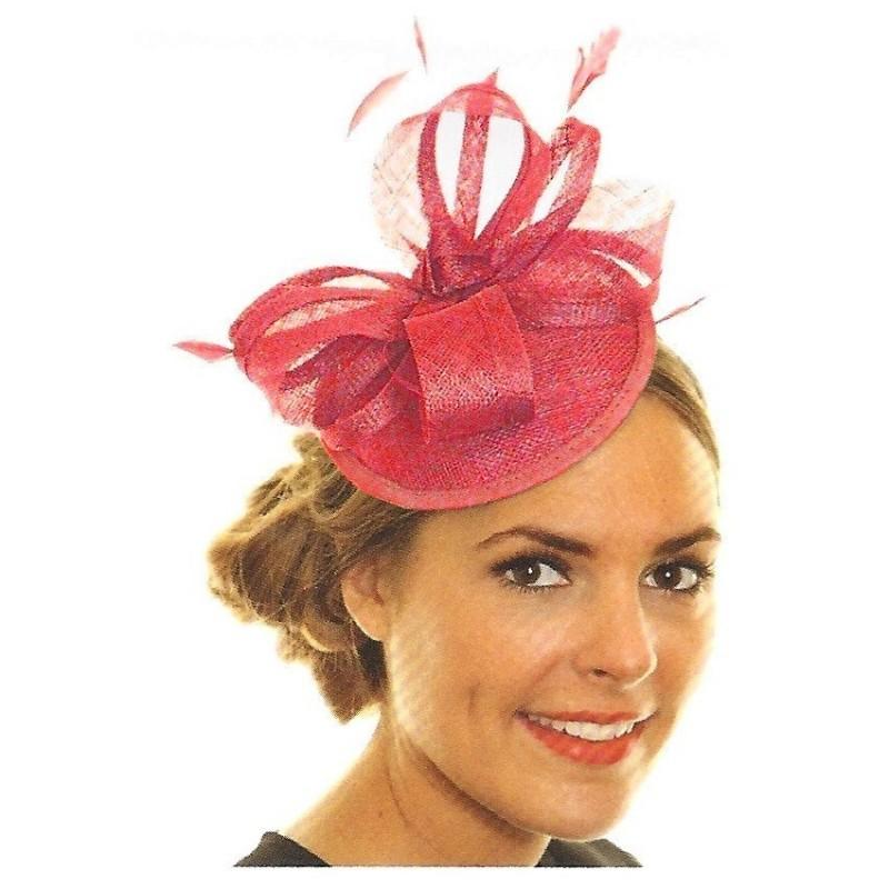 Chapeau mariage Accessoire de coiffure noeud et plumes rouge