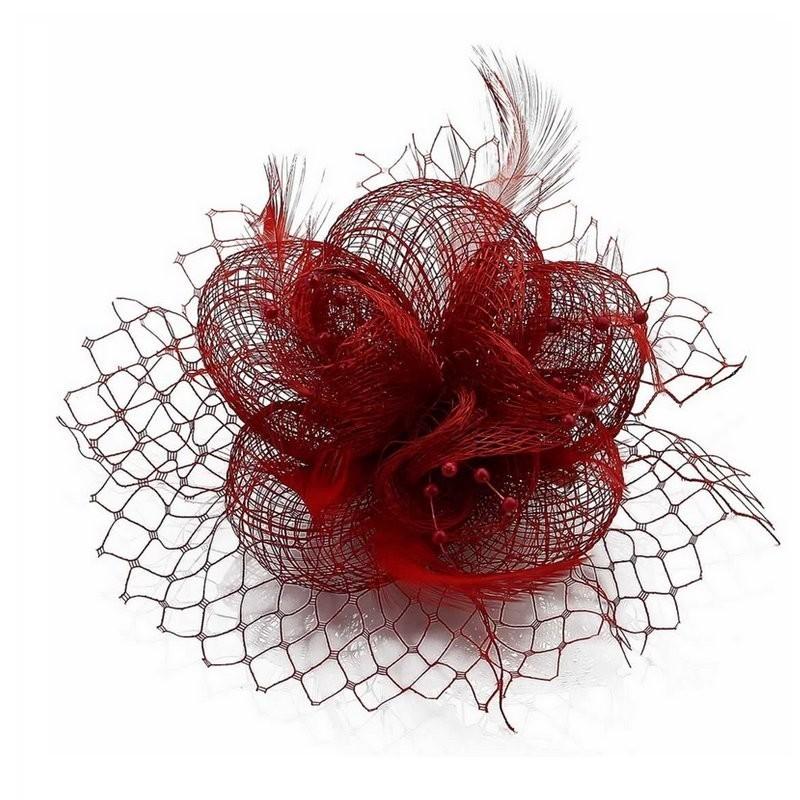 Chapeau mariage Fascinateur accessoire coiffure rouge