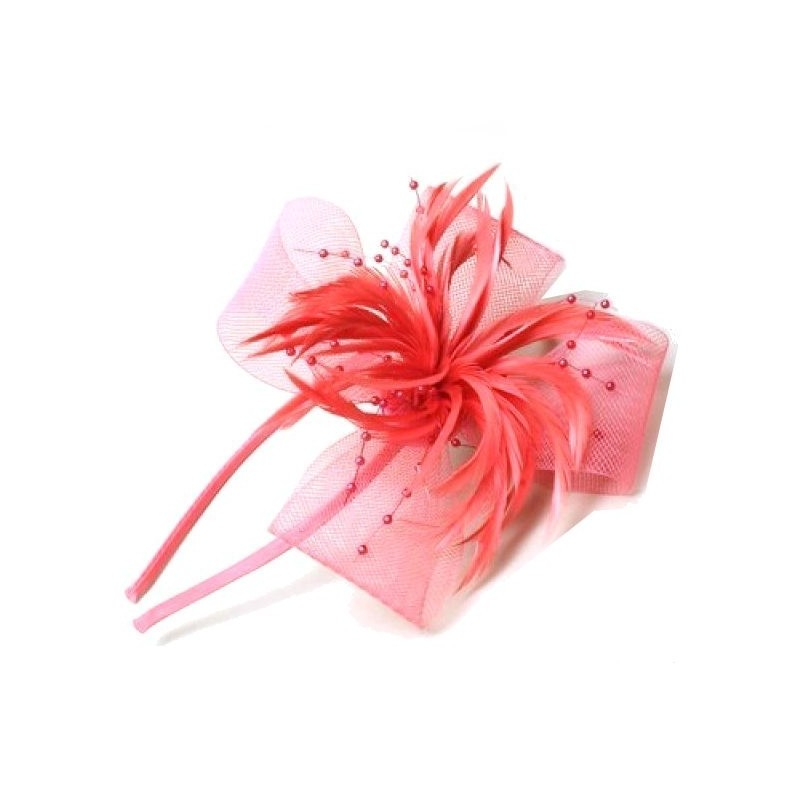 Chapeau mariage Headband ruban perles plumes rouge corail