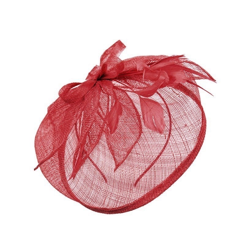 Chapeau mariage Chapeau de mariage plumes rouge
