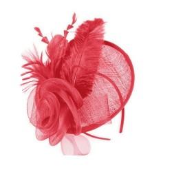 Chapeau mariage Chapeau de mariage en sisal et plumes rouges