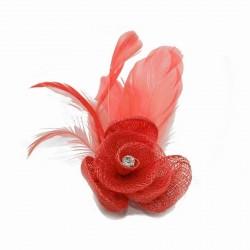 Chapeau mariage Petit accessoire de coiffure strass corail