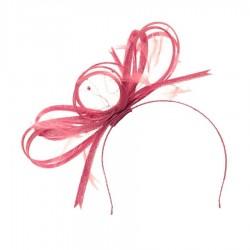 Chapeau mariage Bibi volutes de ruban noué  rouge fraise