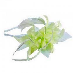 Chapeau mariage Headband avec fleur et plumes vert anis