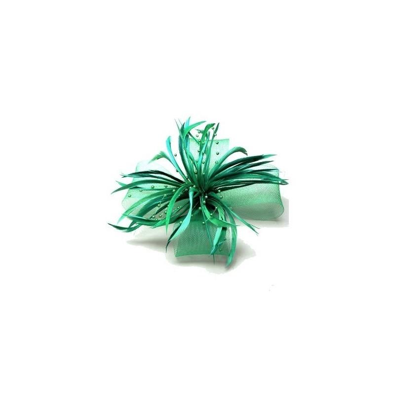 Chapeau mariage Accessoire pour cheveux plumes perles vert
