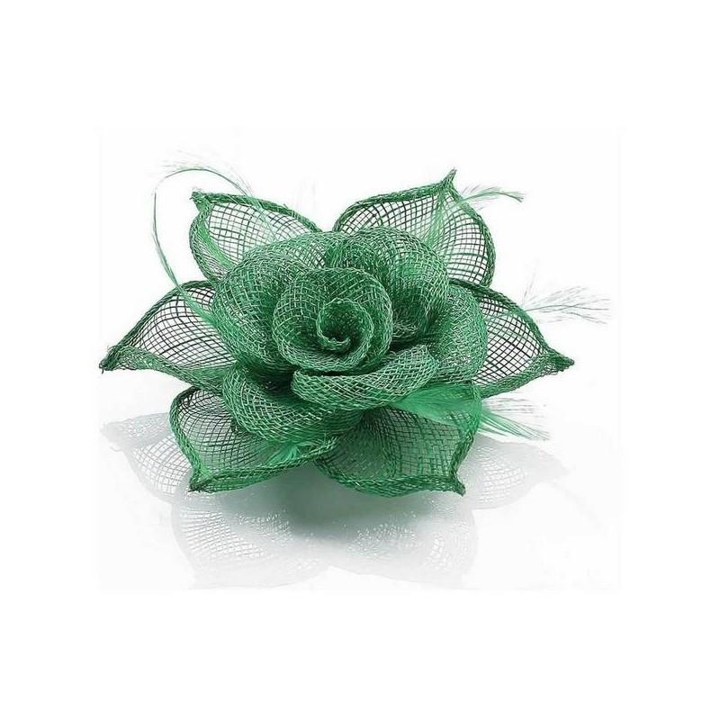Chapeau mariage Bibi ceremonie en sisal vert