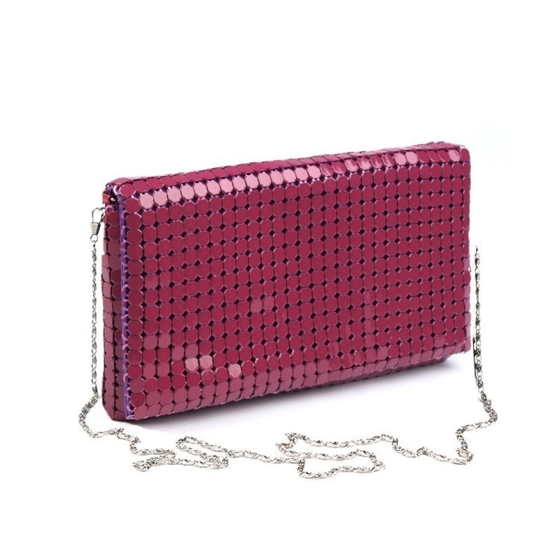 Sac du soir sequins metal rouge fuschia