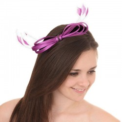 Accessoire coiffure noeud satin strass violet