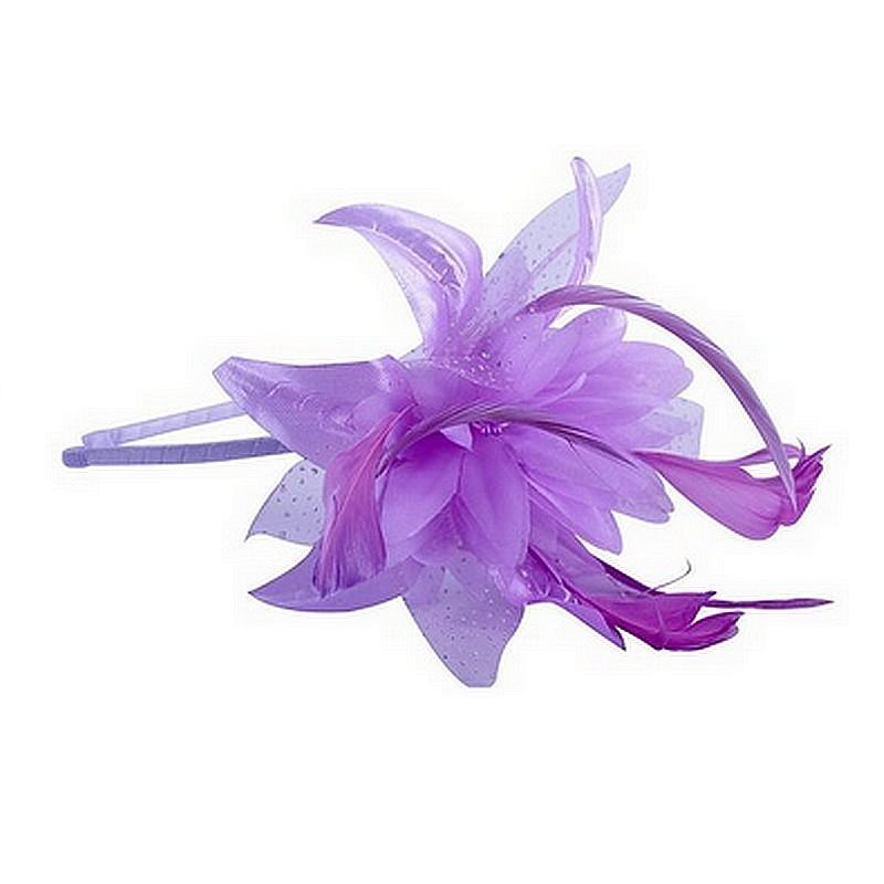 Chapeau mariage Headband avec fleur et plumes violet
