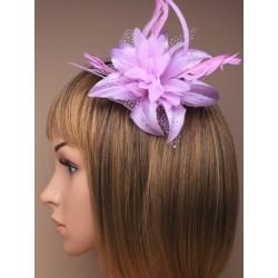 Chapeau mariage Fleur en voile violet mauvesur peigne