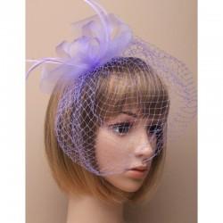 Chapeau mariage Bibi de mariage à voilette violet mauve