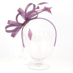 Chapeau mariage Bibi mariage violet sisal et plumes