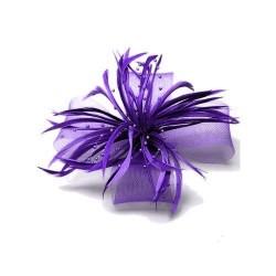 Chapeau mariage Accessoire pour cheveux plumes perles violet