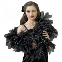 Etole effet plumes organza noir argent