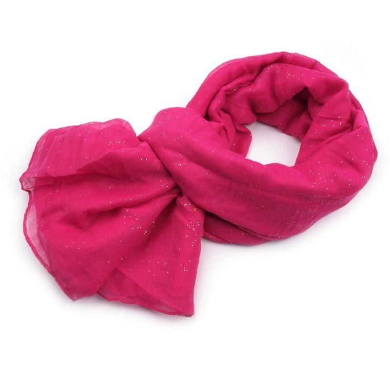 Foulard Etole paillettes rose fuchsia