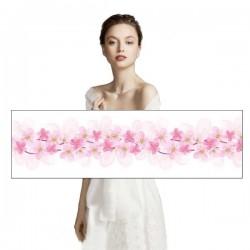 Etole en soie motif fleurs roses
