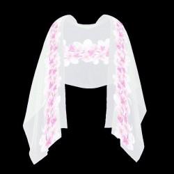 Foulard Etole en soie motif fleurs roses