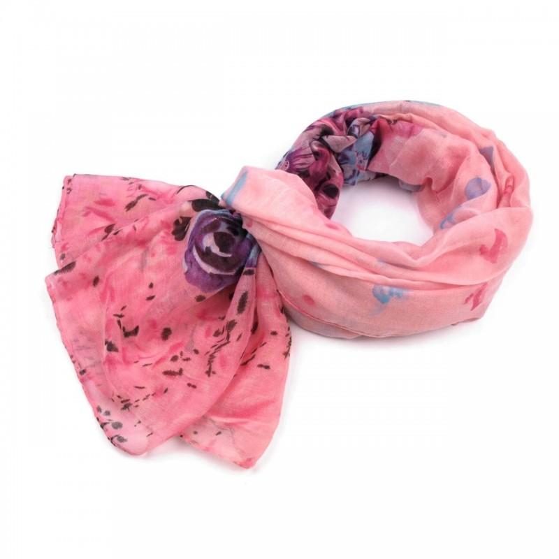 Foulard Etole fleurs rose clair