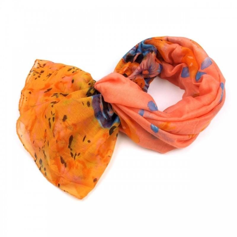 Foulard Etole fleurs jaune orange