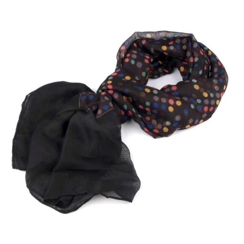 Foulard Etole noire à pois multicolores