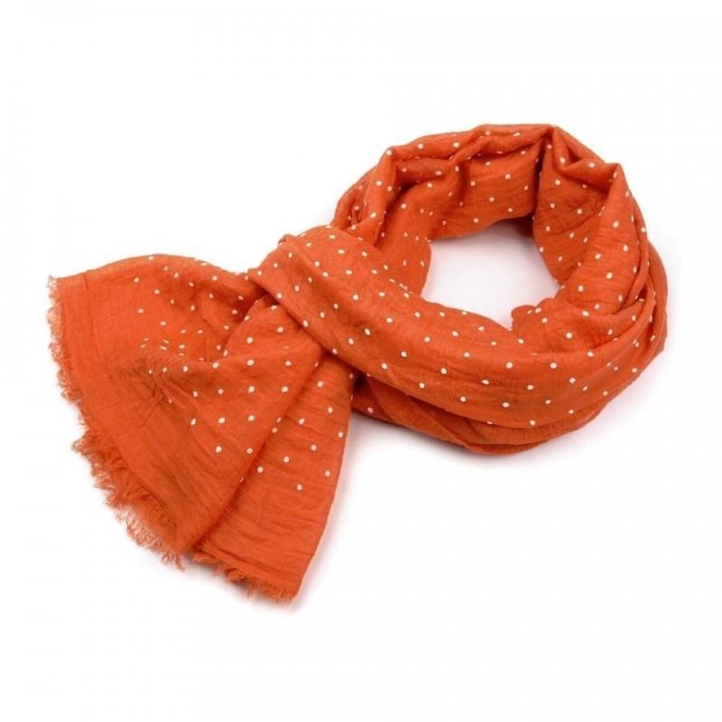 Foulard Etole orange à pois blanc