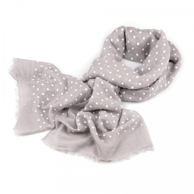 Foulard Etole gris taupe à pois blanc