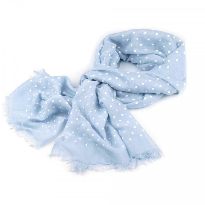 Foulard Etole bleu ciel à pois blancs
