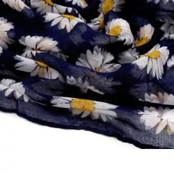 Foulard Etole bleu marine imprimée marguerites