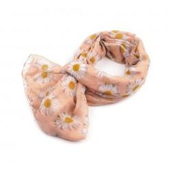 Foulard Etole rose saumon peche imprimée marguerites