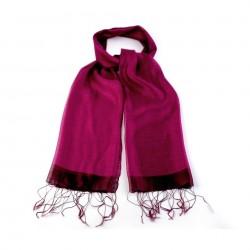 Etole en soie bi-matière rose fuchsia