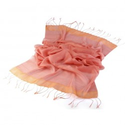 Foulard Etole en soie bi-matière rose fuchsia