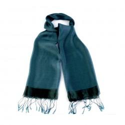 Etole en soie bi-matière bleu vert