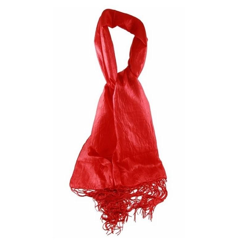 Foulard Etole soie sauvage rouge