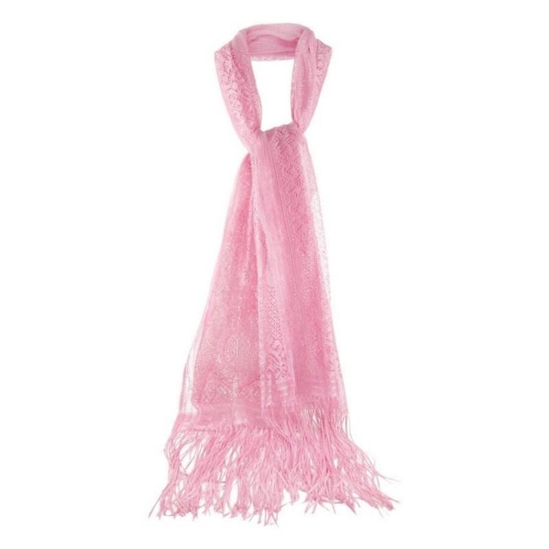 Foulard Etole mariage dentelle rose