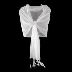 Foulard Etole mariage stretch strass blanc