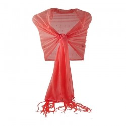 Foulard Etole mariage stretch strass orange corail