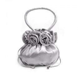 Sac mariage satin gris perle Pompadour