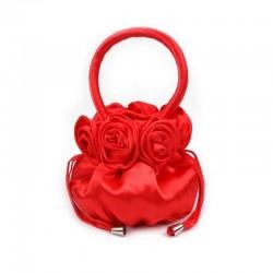 Sac mariage satin rouge fraise Pompadour