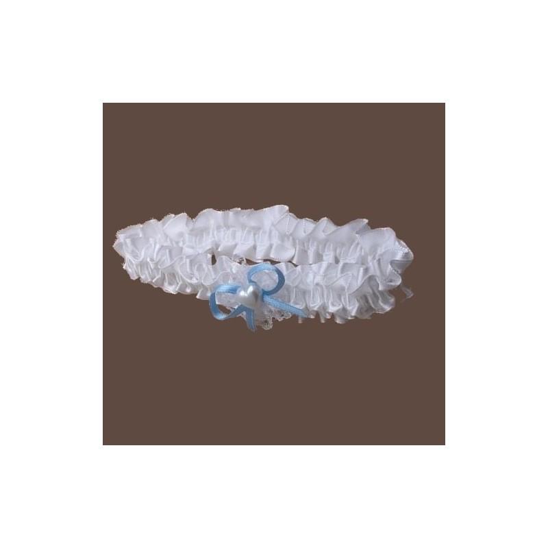 Jarretiere mariage satin blanc ruban bleu coeur