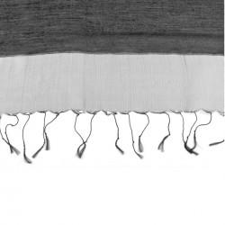 Foulard Etole en soie bi-matière noire