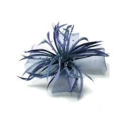 Chapeau mariage Accessoire cheveux plumes perles gris bleu
