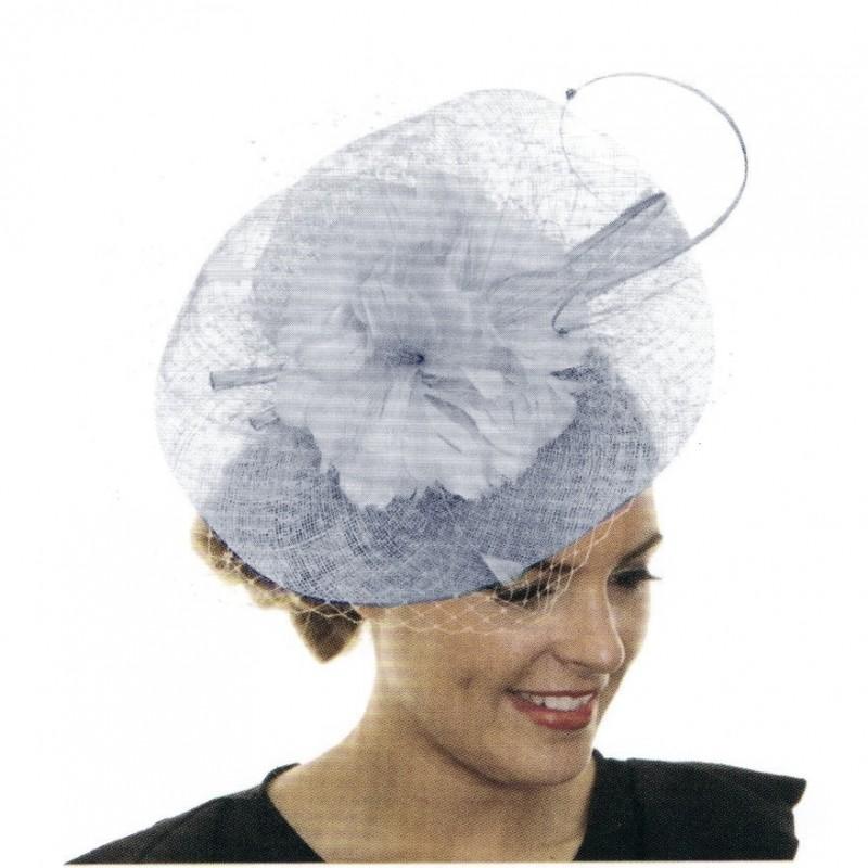 Chapeau mariage Bibi de ceremonie strass fleurs plumes gris