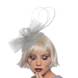 Chapeau mariage Bibi de ceremonie tulle gris clair  et plumes
