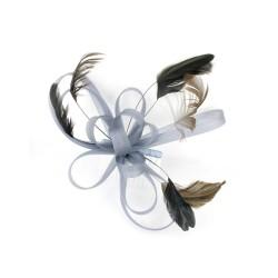 Chapeau mariage Bibi fascinateur gris clair pour cérémonie